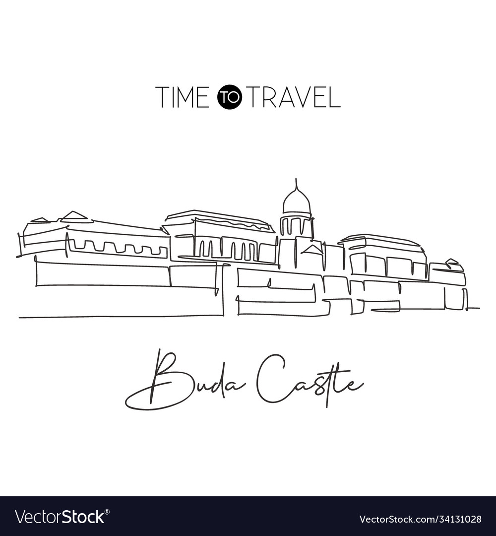 One continuous line drawing buda castle landmark