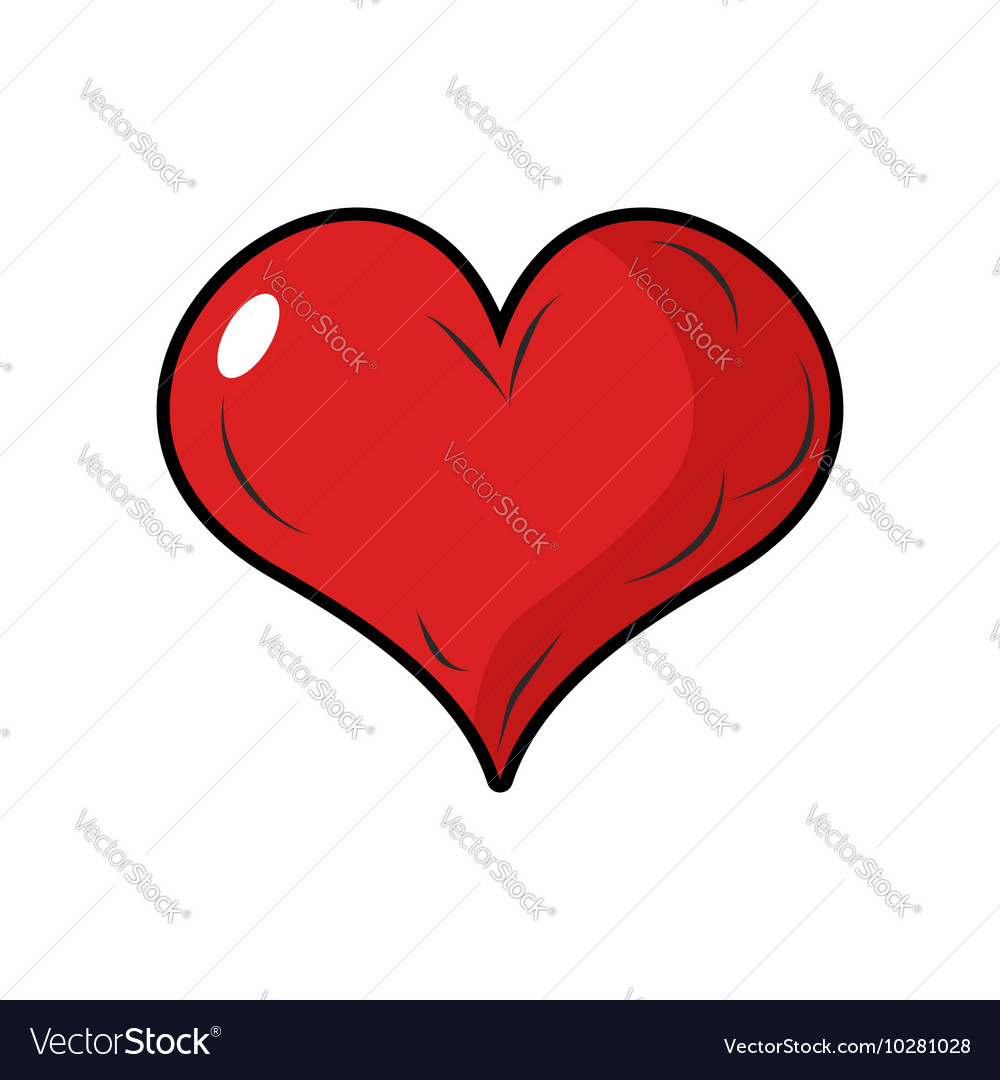 Red Heart Symbol Of Love 3d Heart With Blink Vector Image