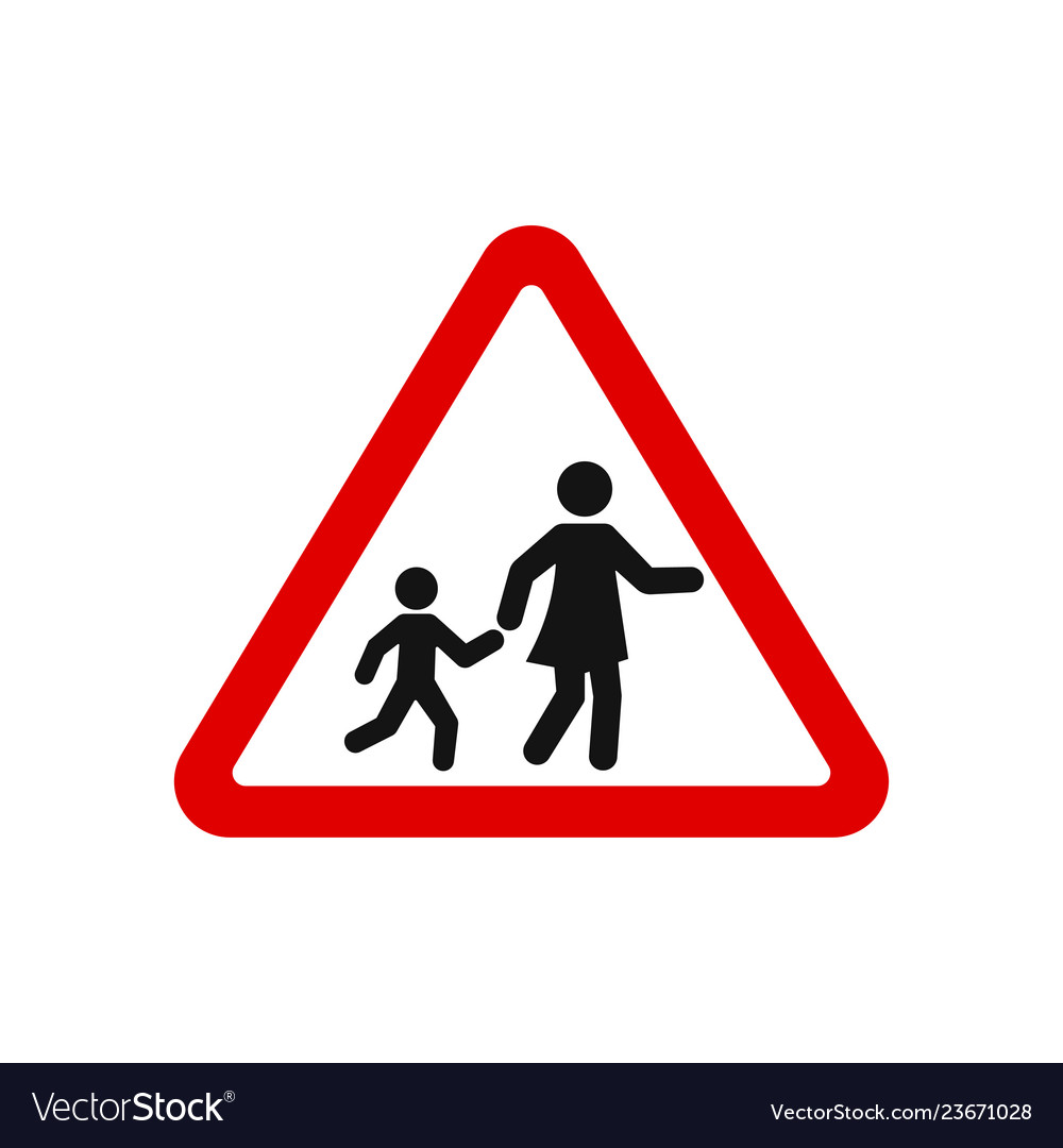 Red triangle school crossing road sign
