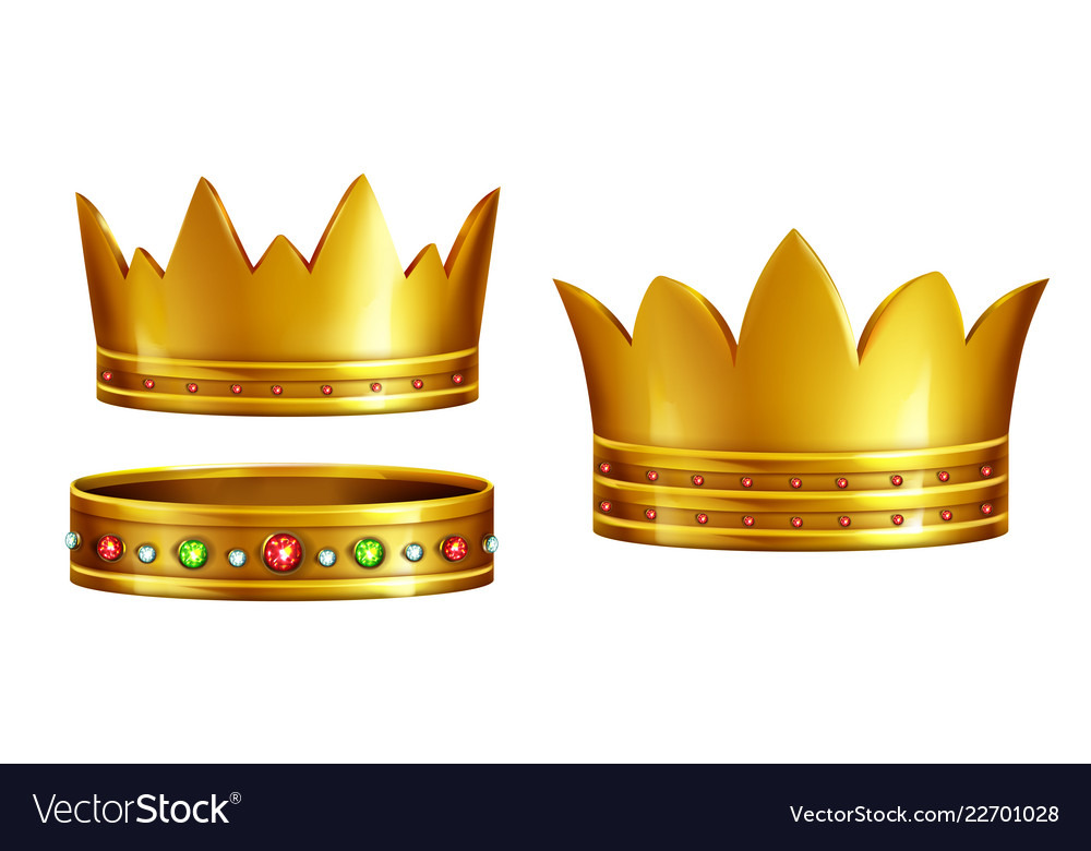 Royal golden crowns realistic collection