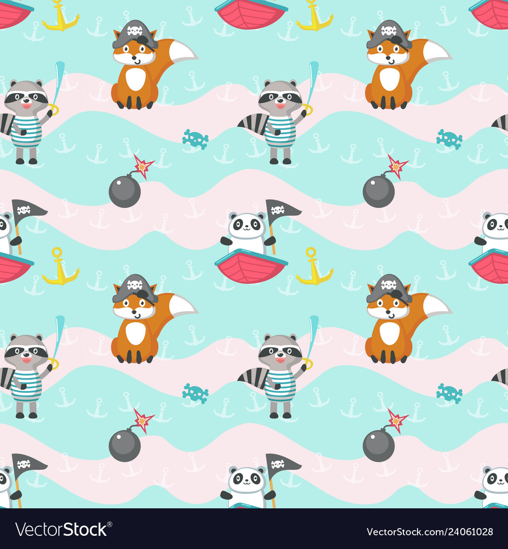 Seamless pattern with cute pirate animals