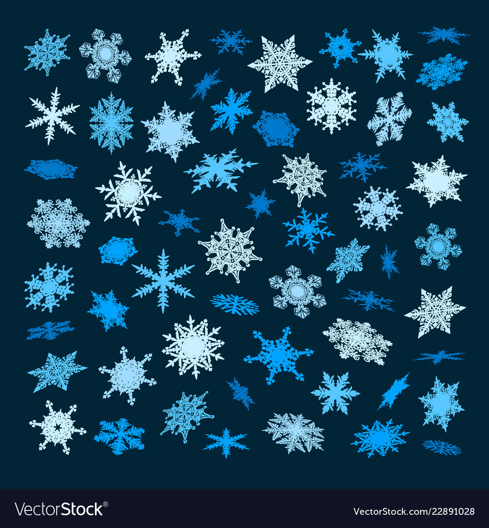 Set blue snowflakes falling in different