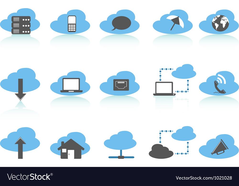 Simple cloud computing icons setblue series vector image