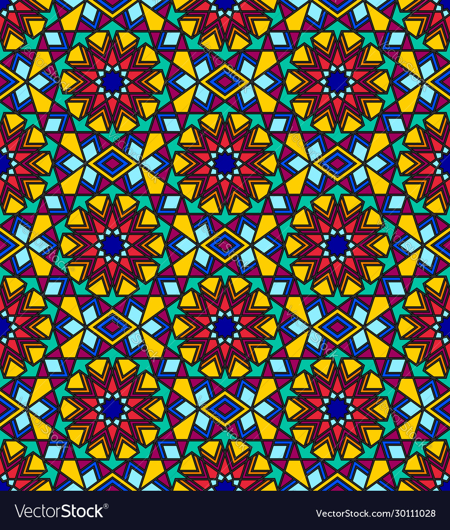Stained glass multicolor seamless pattern