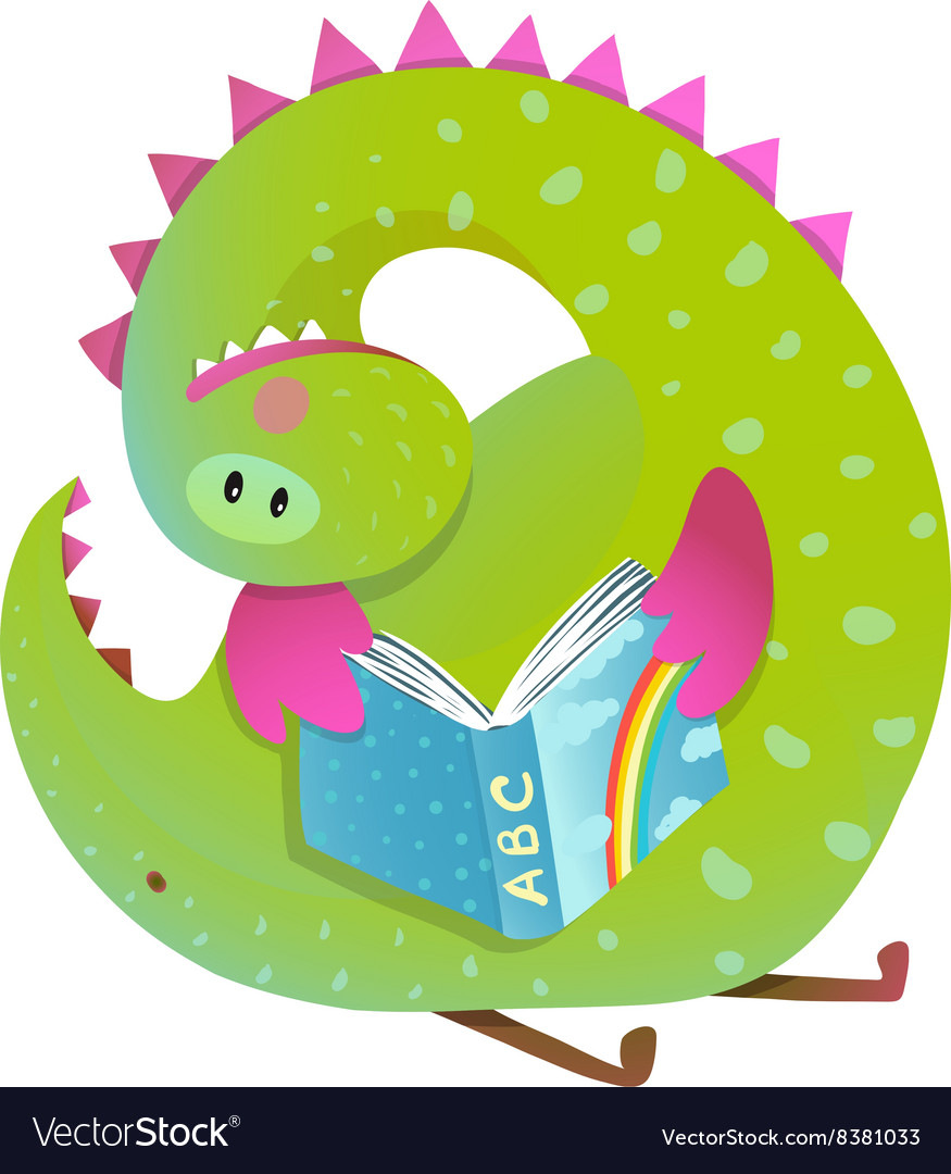 Baby dragon reading book study cute cartoon