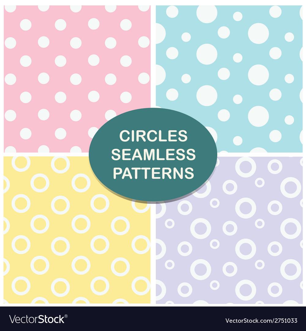 Circles seamless pattern set vector image
