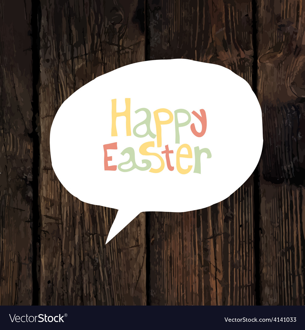 Easter greeting on wooden background