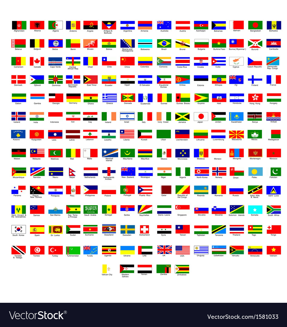flags of all countries in the world royalty free vector