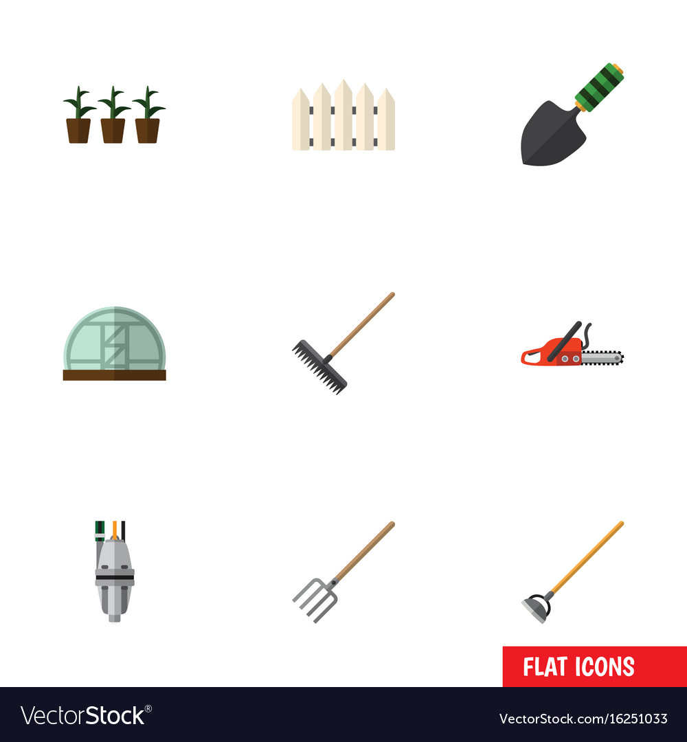 Flat icon dacha set of wooden barrier flowerpot vector image