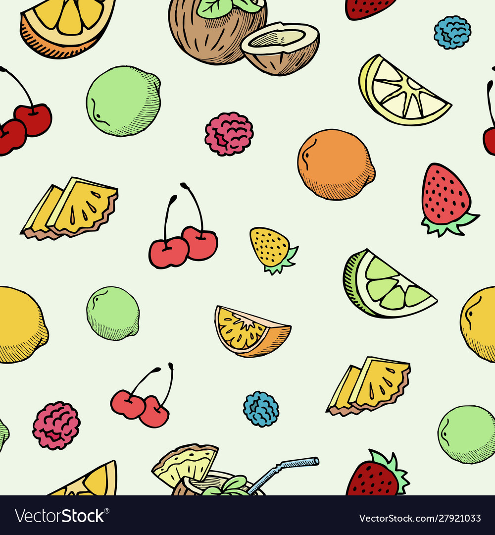 Hand drawn fruits and berries seamless