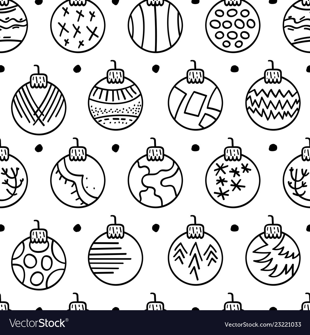 Hand drawn seamless pattern with christmas balls