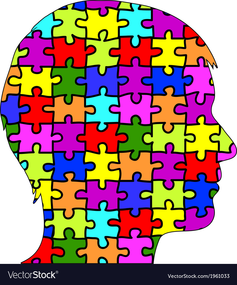 Male silhouette in puzzle pieces