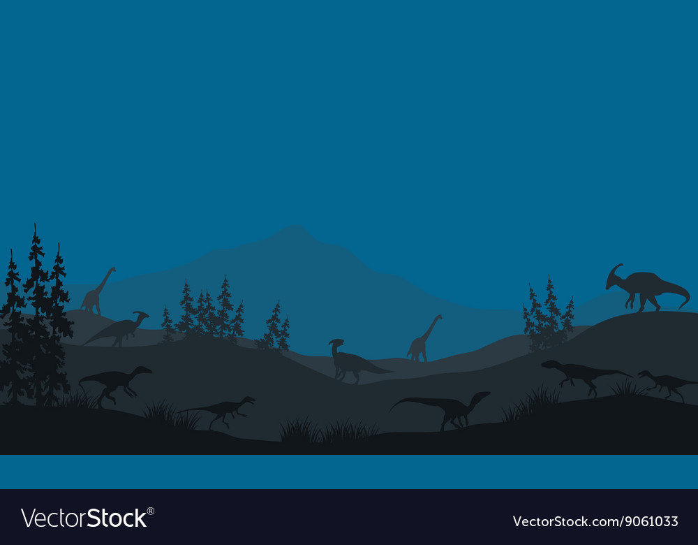 Many Dinosaur in hills vector image