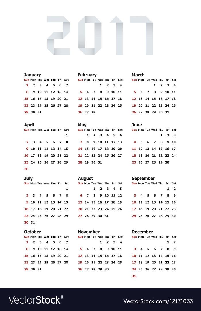 Modern calendar 2017 on white