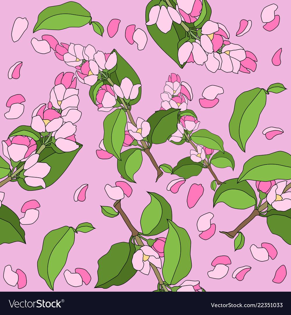 Sakura branch seamless pattern