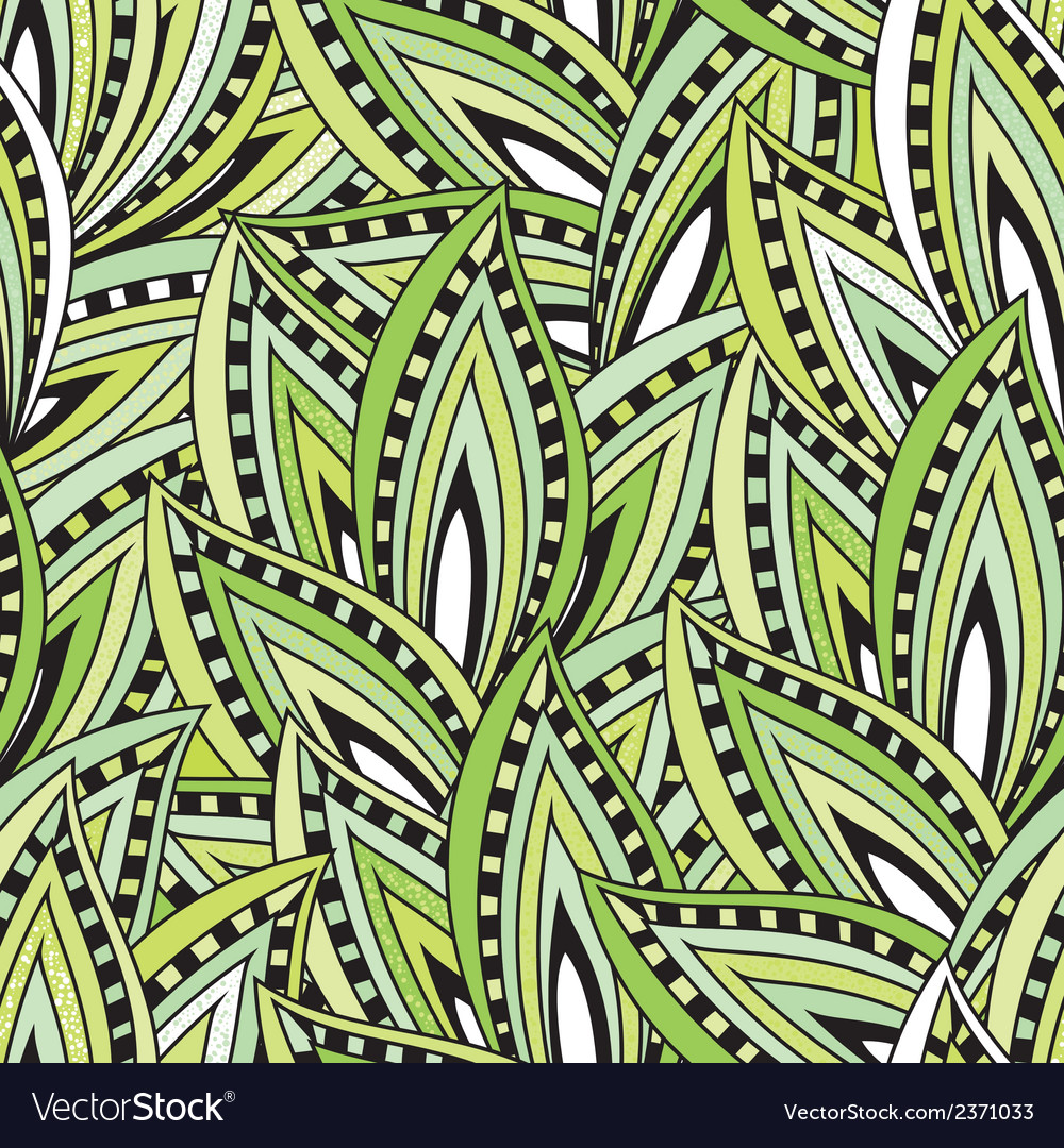 Seamless pattern with green leaves and blots