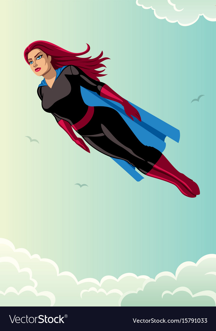Super heroine flying sky