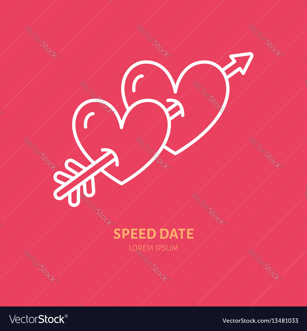 Two hearts pierced by arrow line icon logo