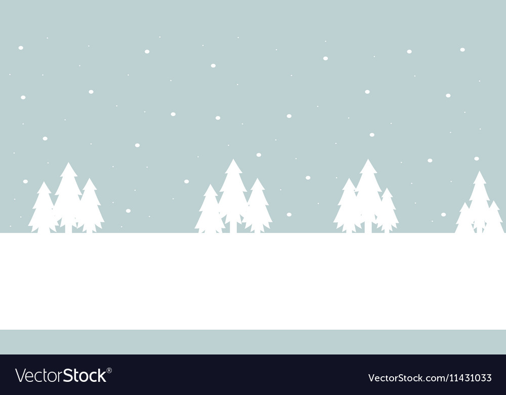 Winter tree christmas landscape of silhouette Vector Image