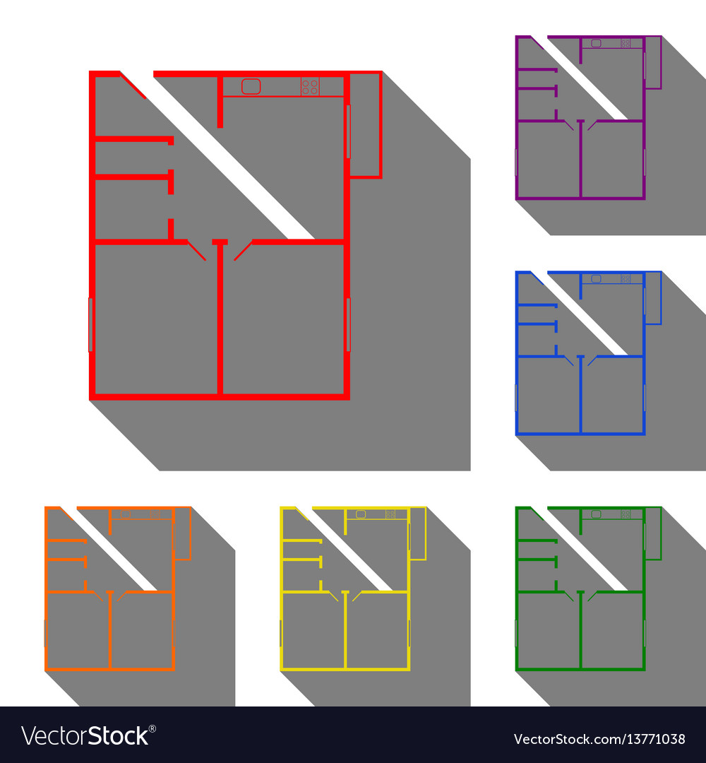 Apartment house floor plans set of red orange