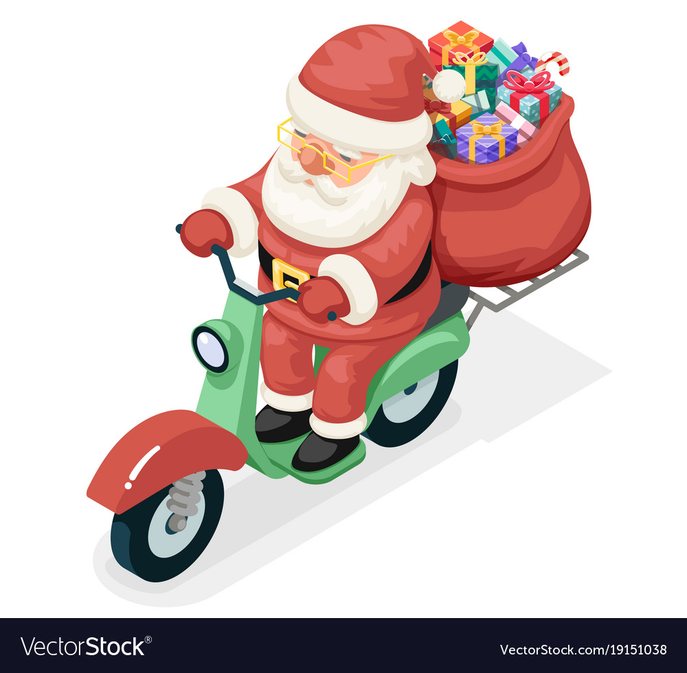 Bag gift box santa claus delivery courier scooter