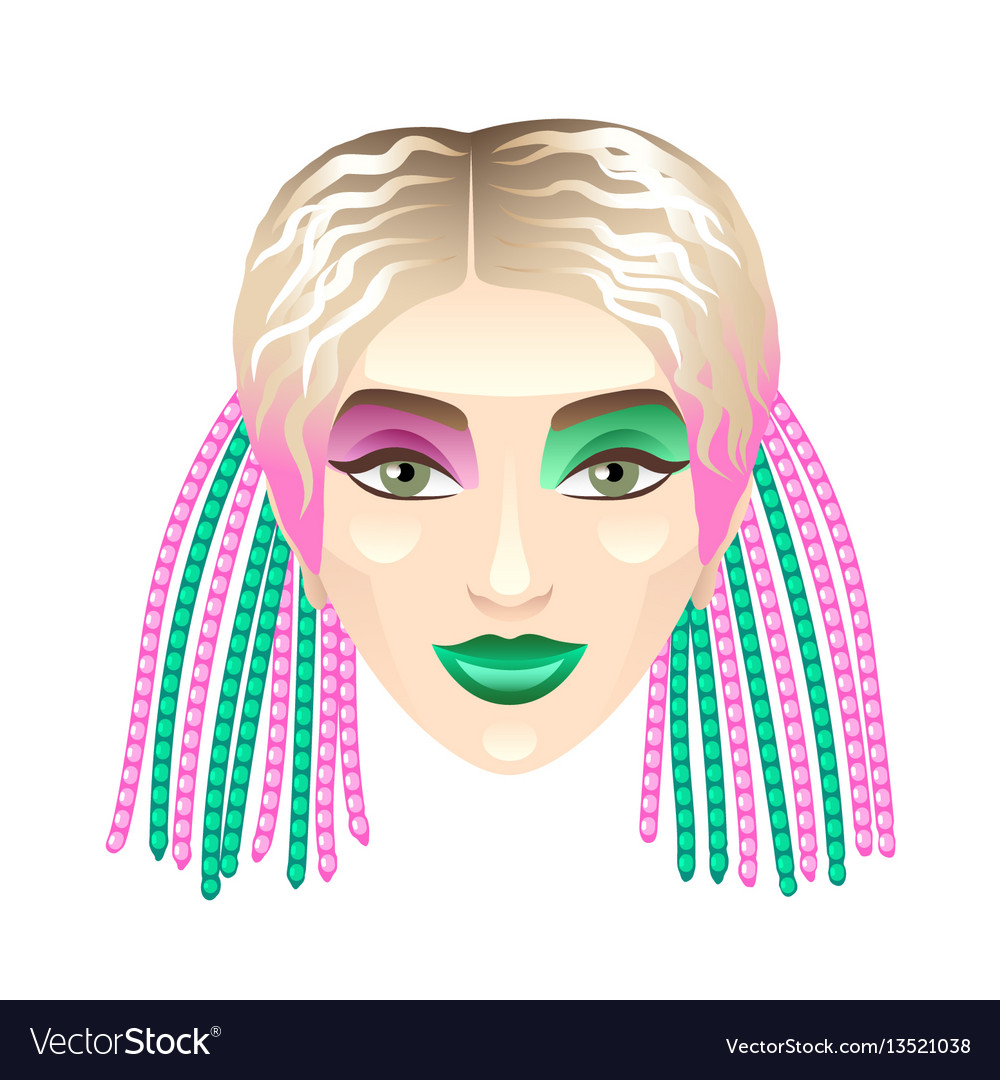 Blonde girl with colorful pigtails isolated on