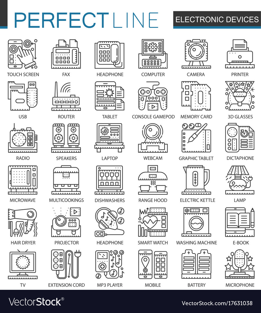 Electronic device outline mini concept symbols