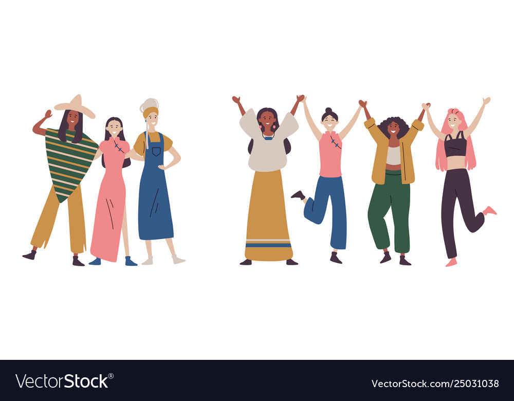 Happy women or girls standing together and holding