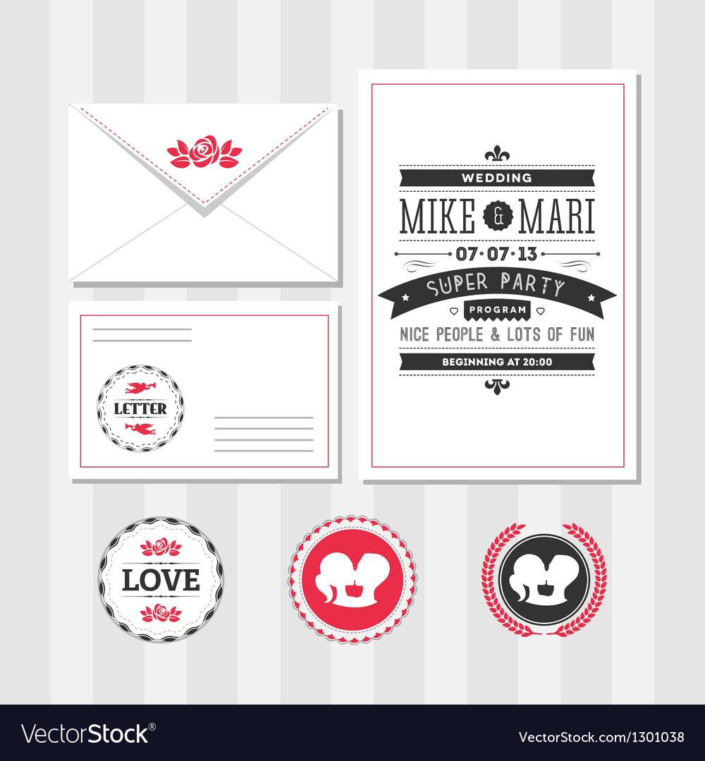 Invitation set vector image