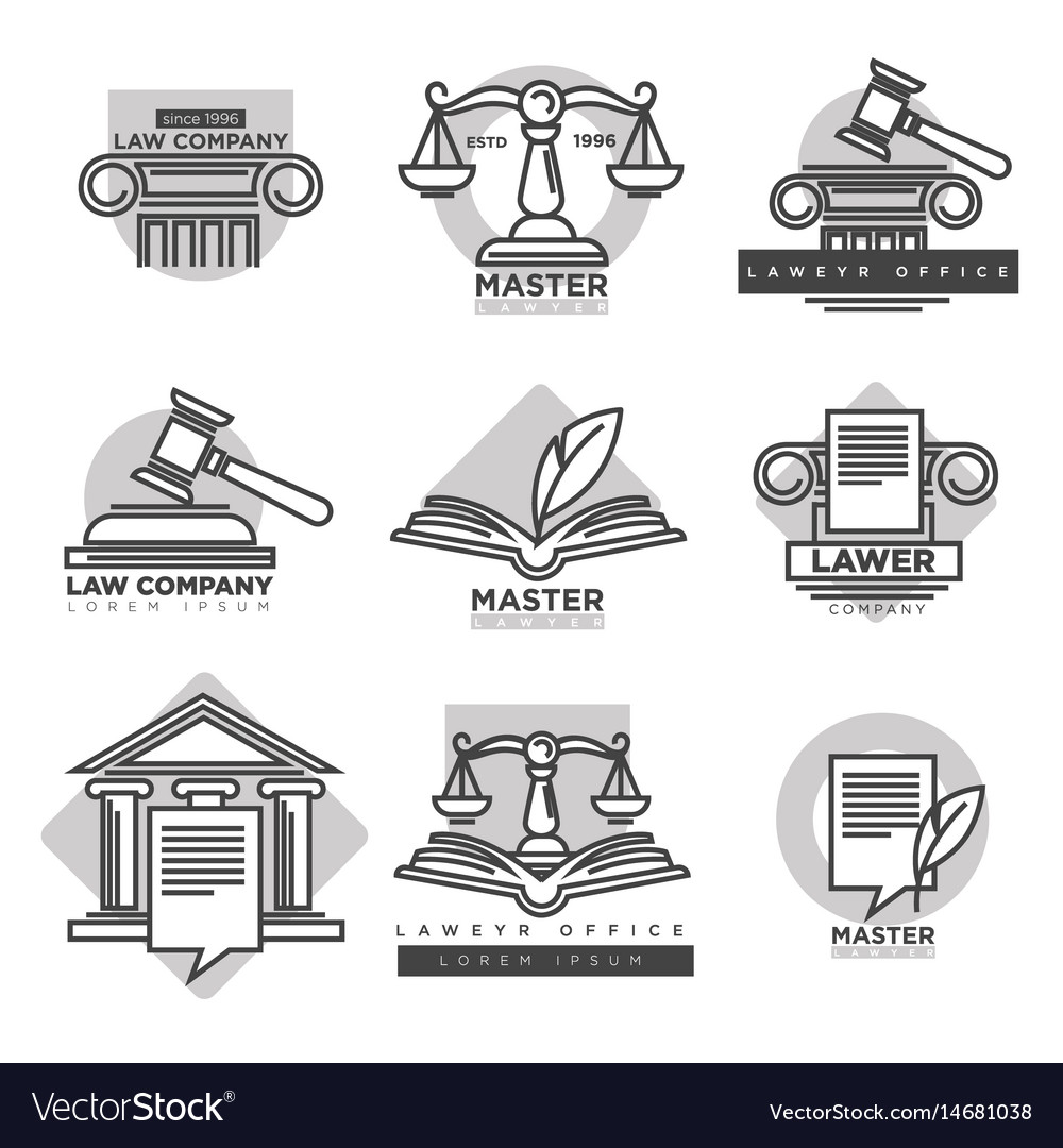 Law company logotypes set in grey color on white