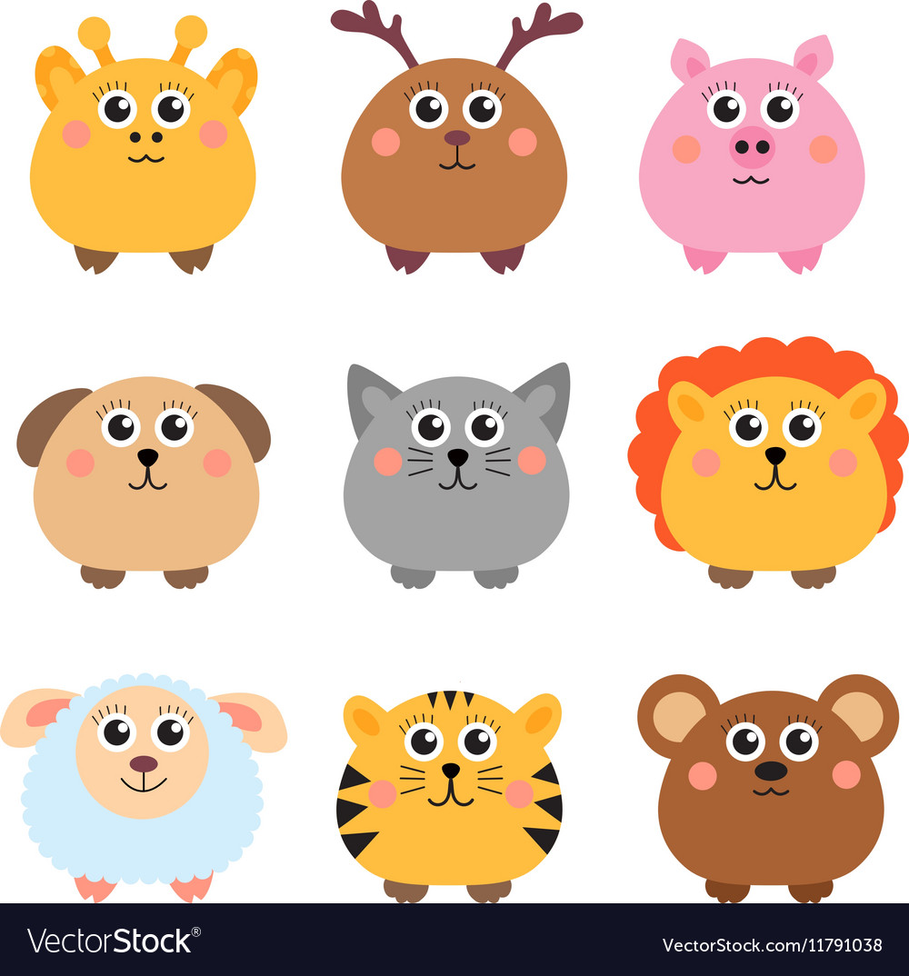 Set cute animals rounded shape round animals vector