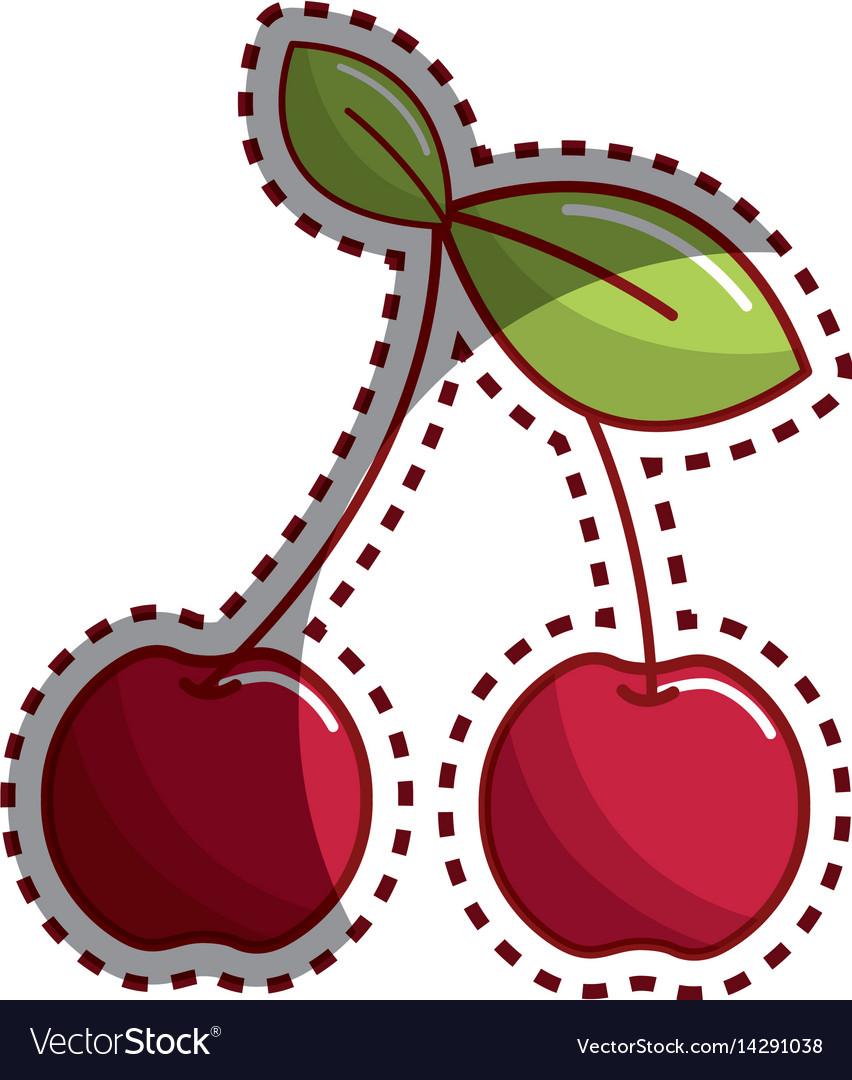 Sticker cherry fruit icon stock
