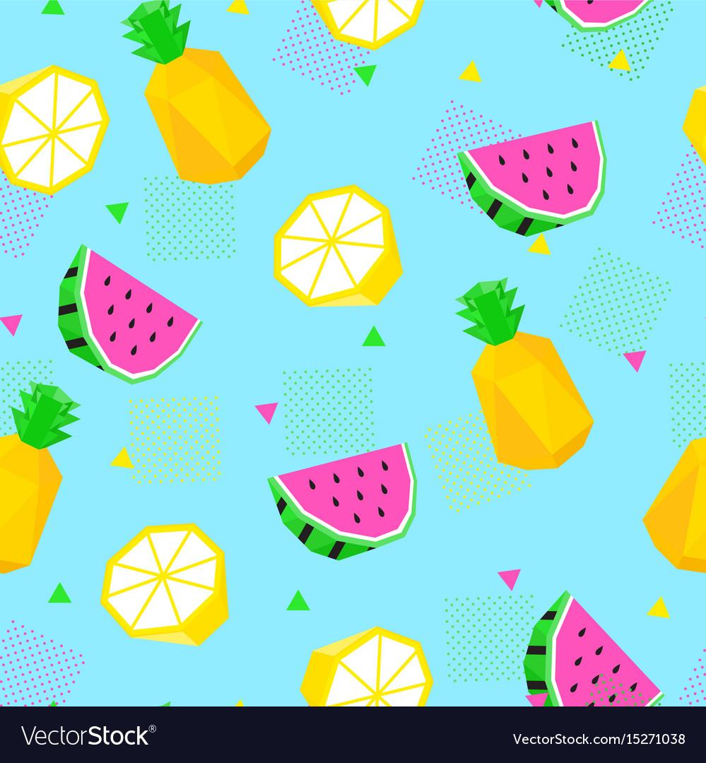 Summer seamless pattern watermelon pineapple