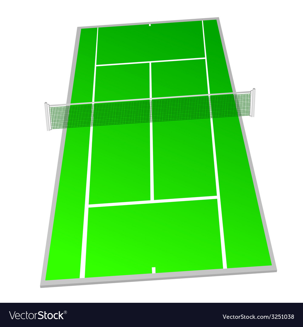 Tennis Court Green Color Royalty Free Vector Image