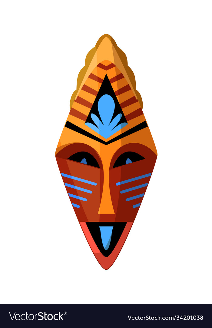 Tribal ceremonial mask isolated on white