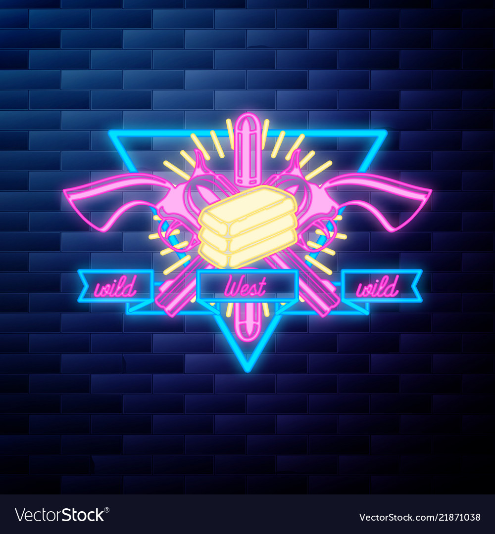 Vntage wild west emblem glowing neon sign