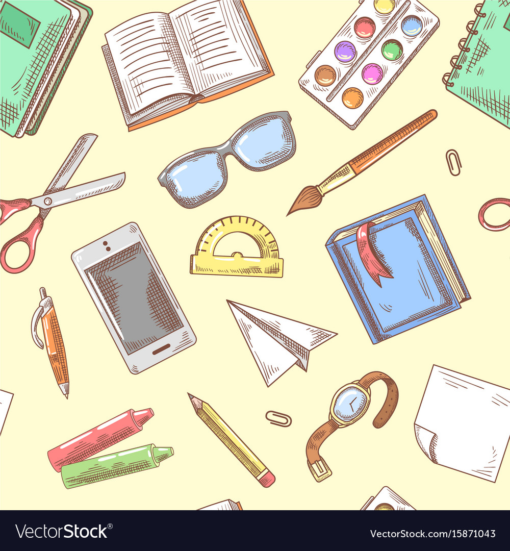 Back to school background education hand drawn