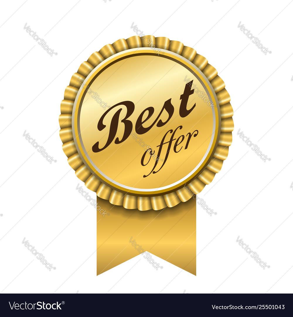 Best offer award ribbon icon gold sign isolated