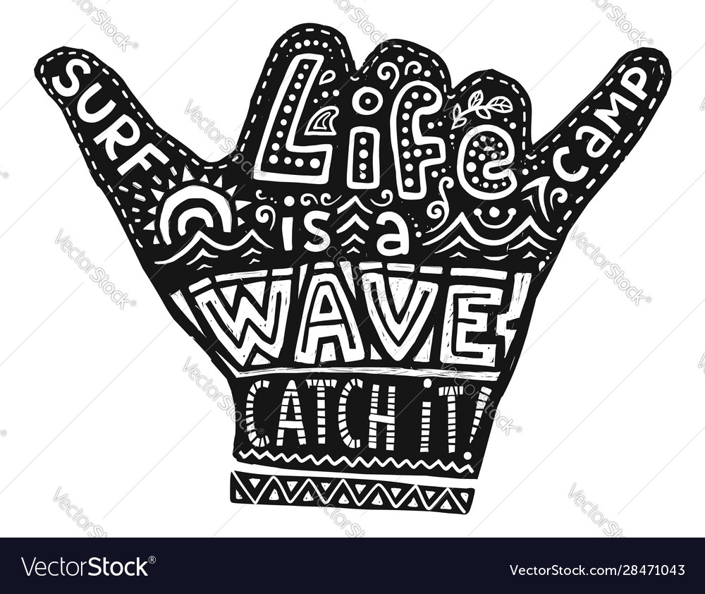 Black hang loose silhouette with white lettering