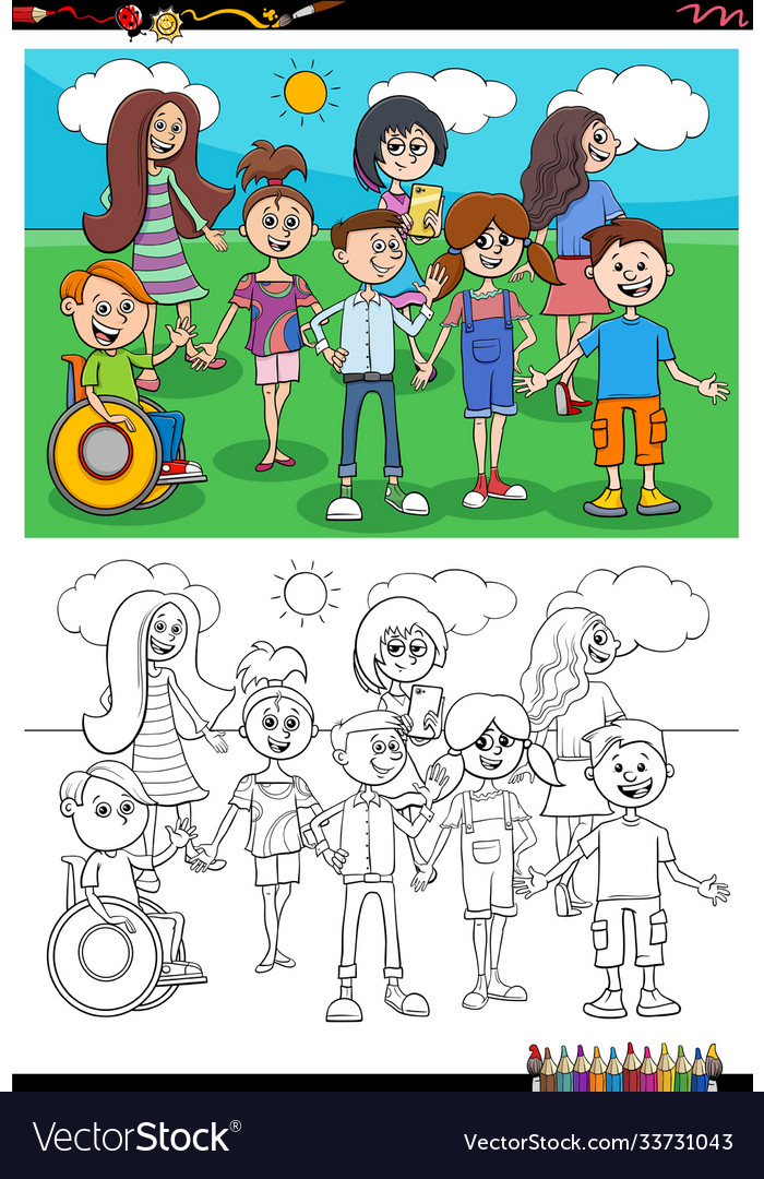 Cartoon children characters group coloring book