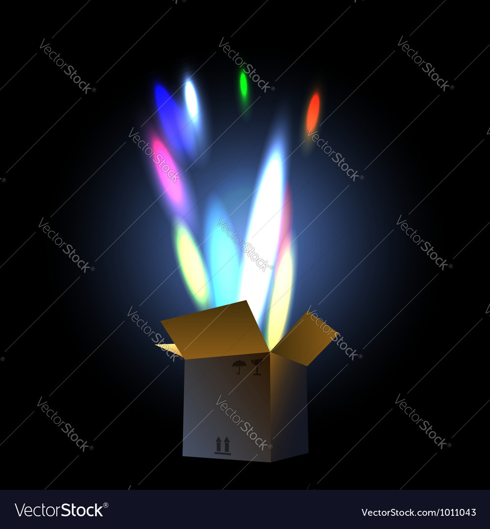 Fireworks in the giftbox vector image