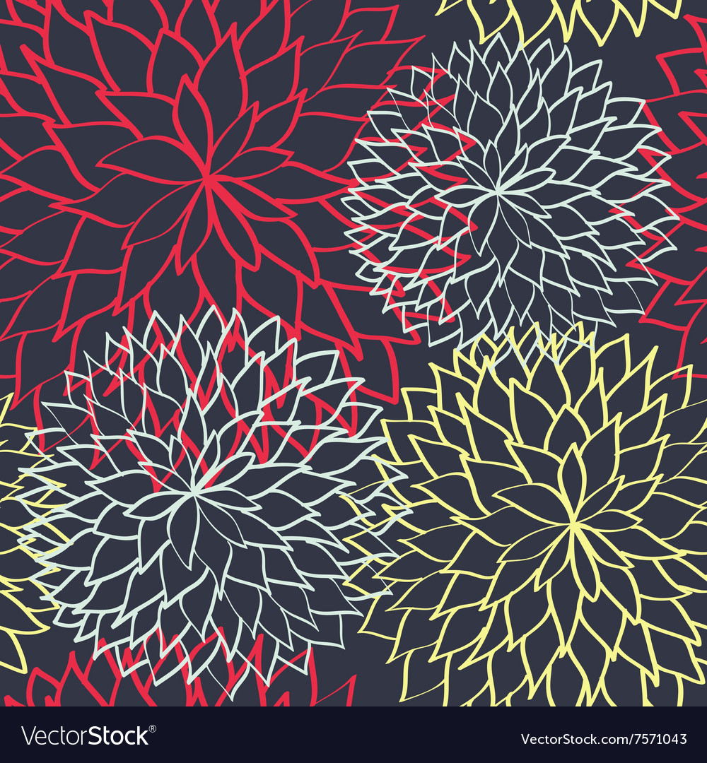Flowers seamless pattern hand drawn background vector image