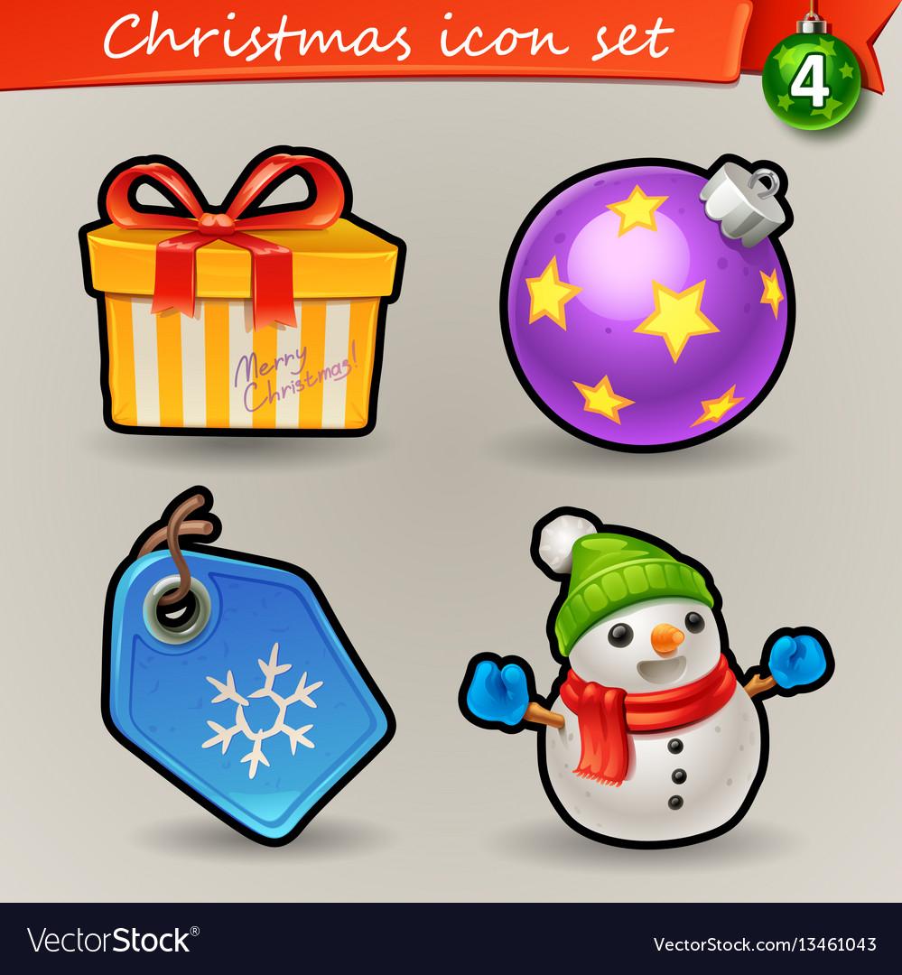 Funny christmas icons-4 vector image