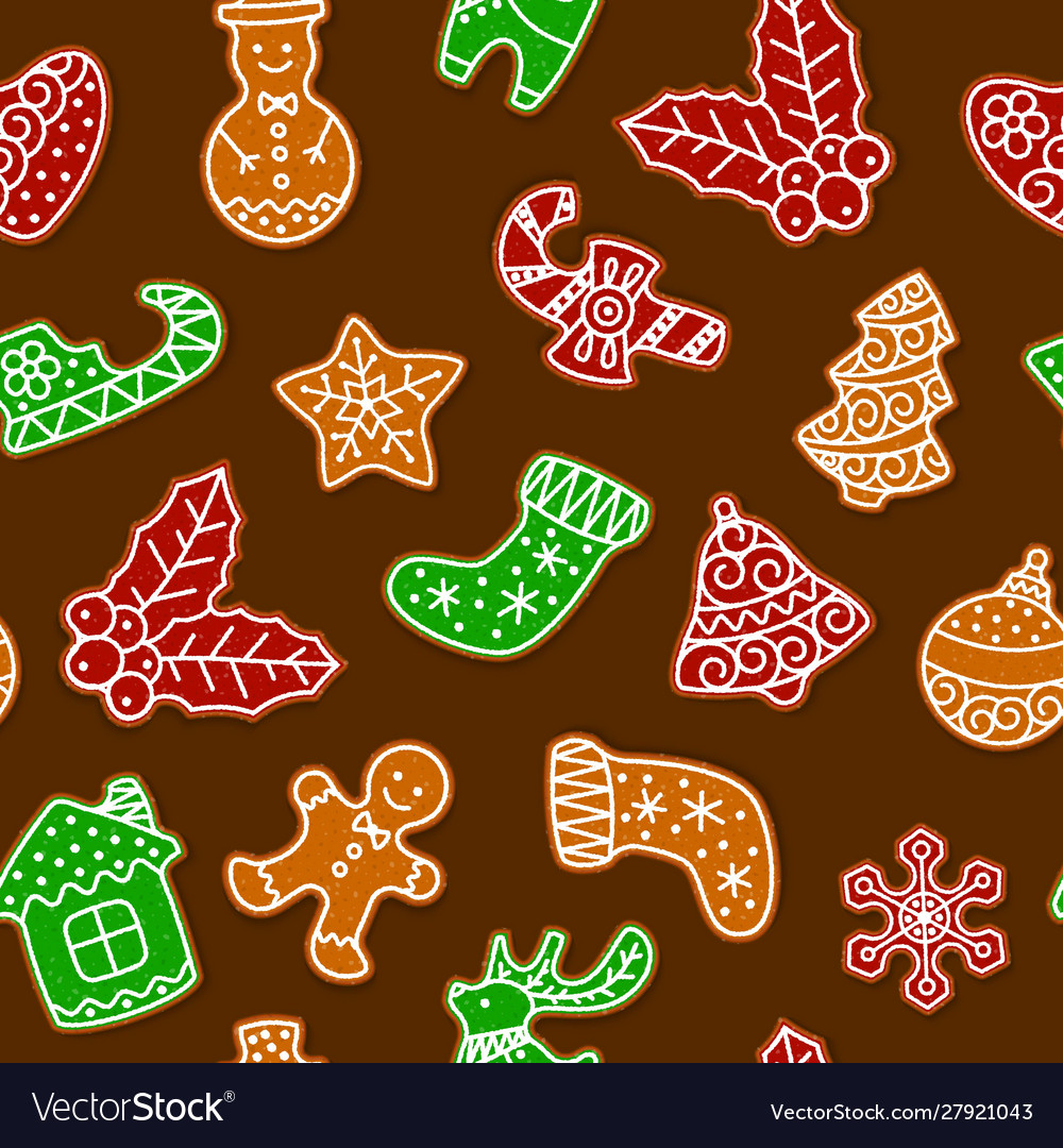 Gingerbread cookies for christmas seamless
