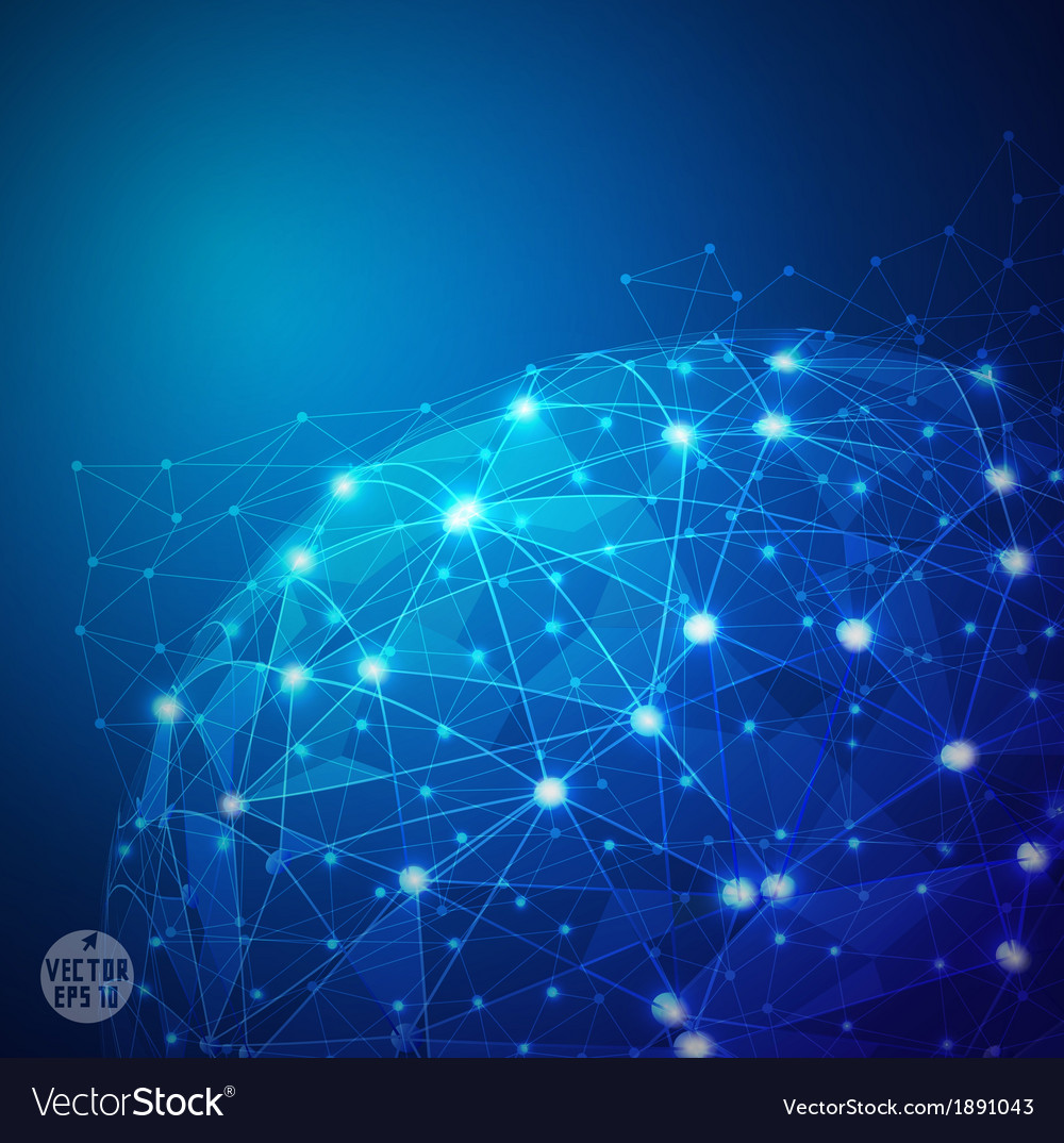 Global Digital mesh network technology vector image