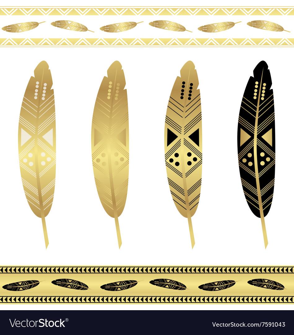 Gold flash tattoo ethnic seamless patterns