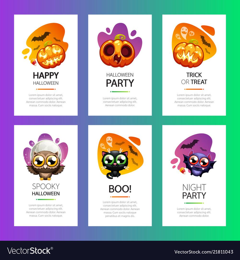 Halloween greeting cards vibrant light set