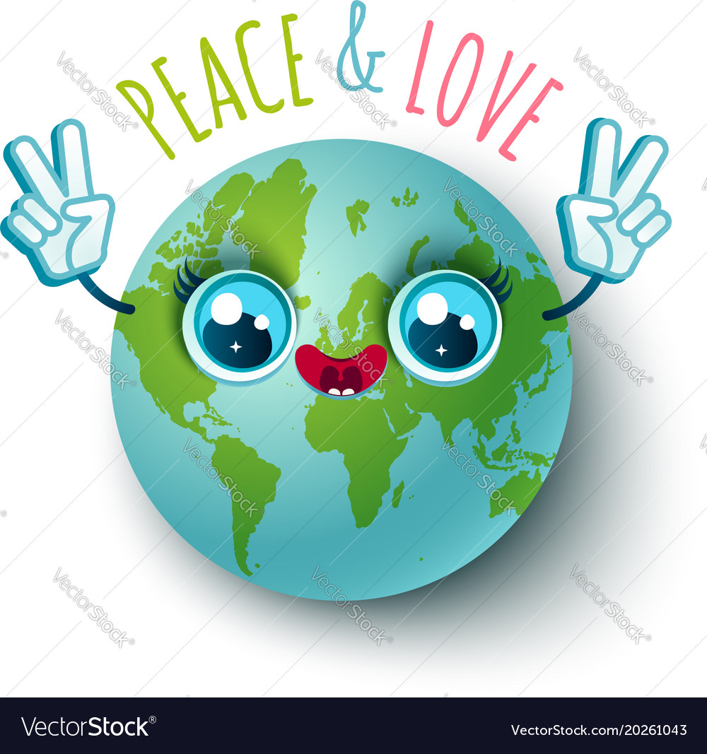 Planet earth in kawaii style