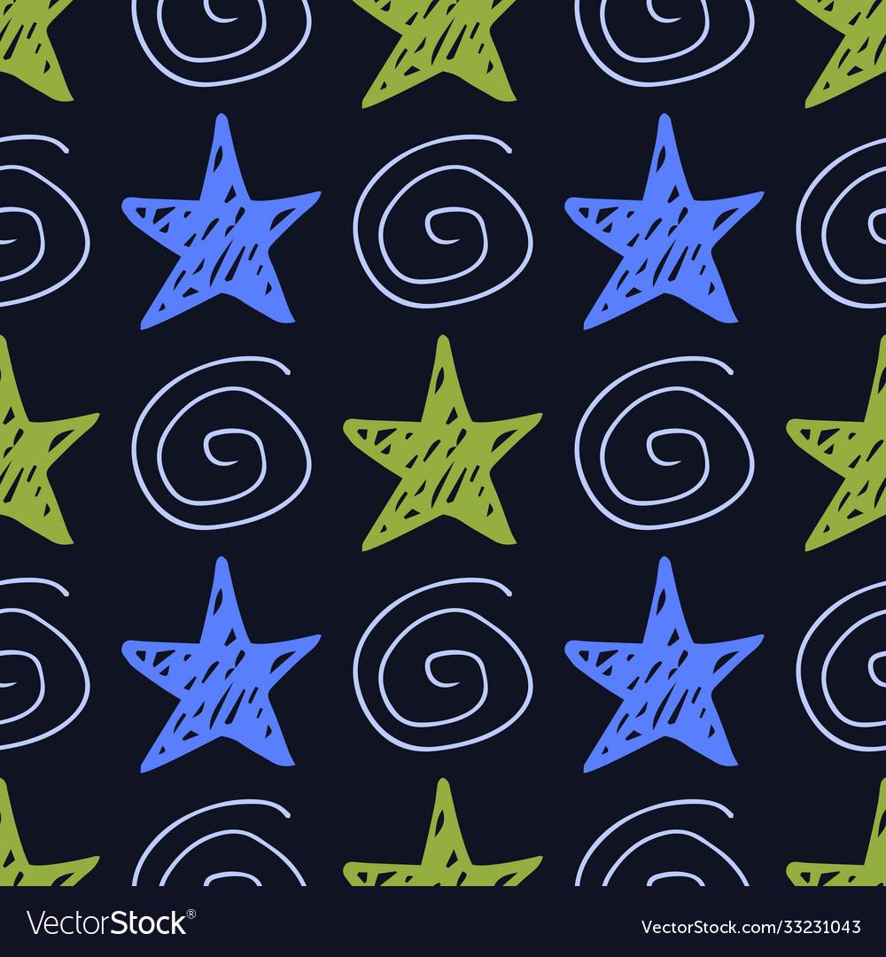 Seamless star pattern hand-drawn stars and
