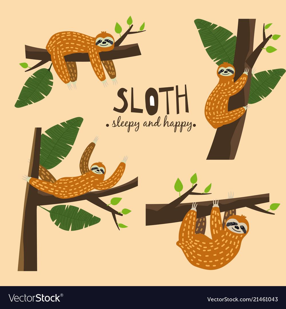 Set cute funny sloth hanging on the tree sleepy